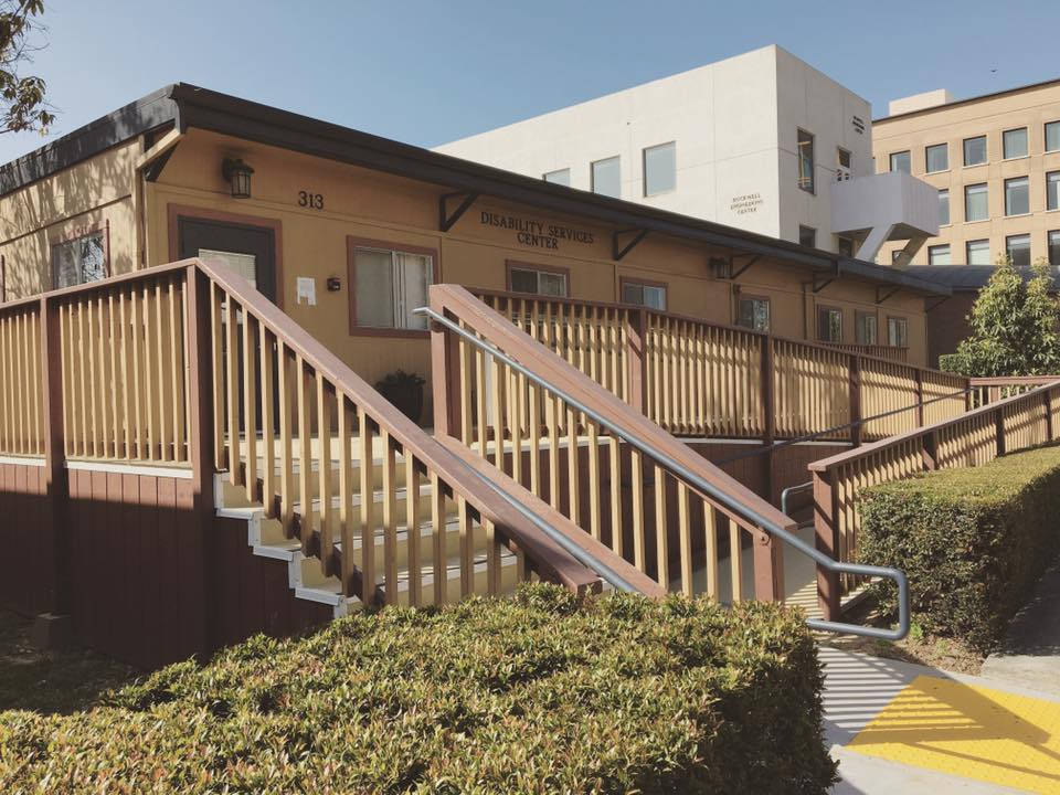 The UCI Disability Services Center building with ramp and stairs
